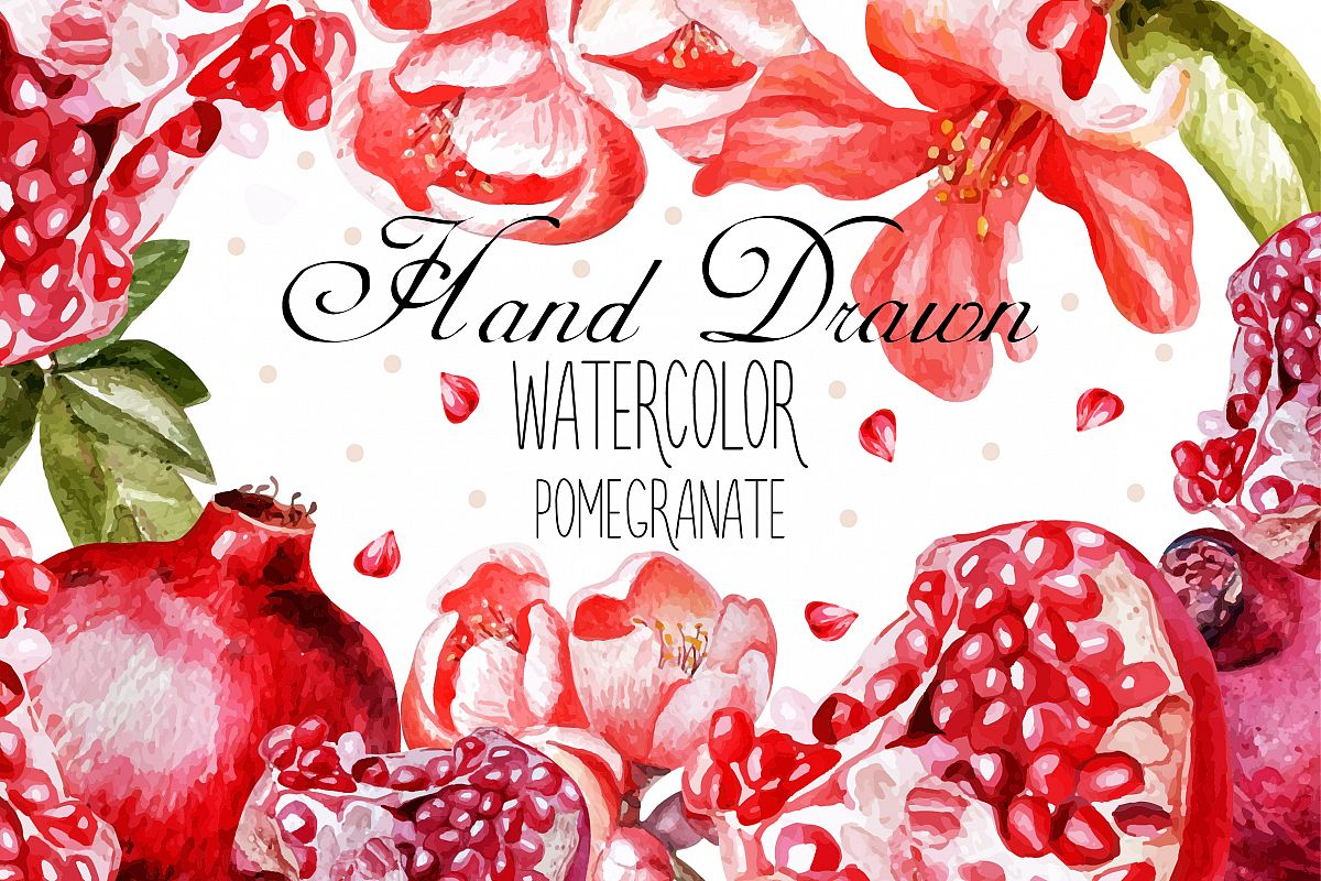 Beautiful watercolor pomegranates example image