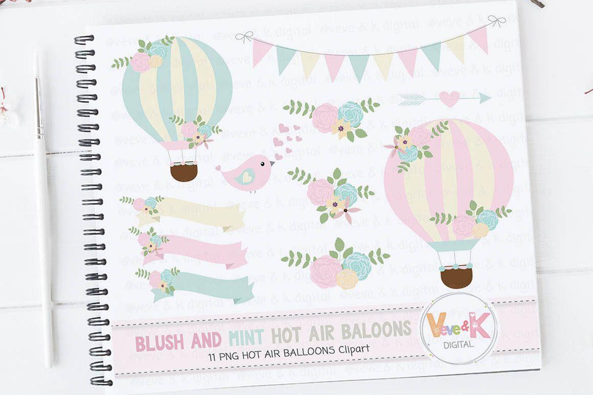 Hot Air Balloons Clipart, Blush And Min | Design Bundles