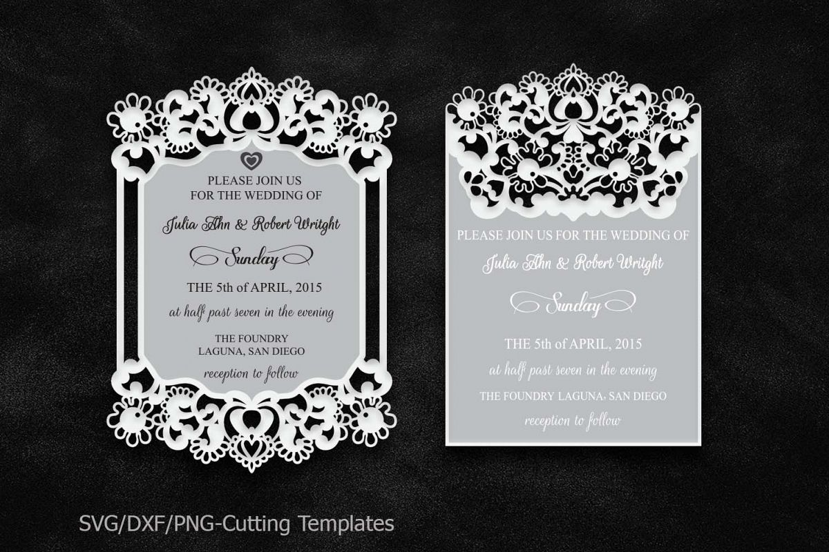 laser cut wedding invitation, template | Design Bundles