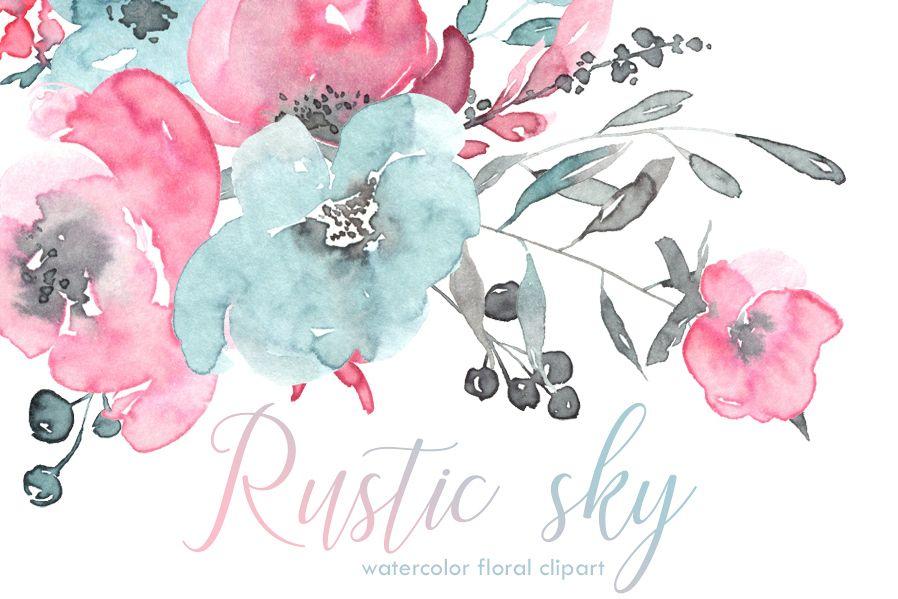 Rustic Pink Blue Watercolor Flowers By Design Bundles