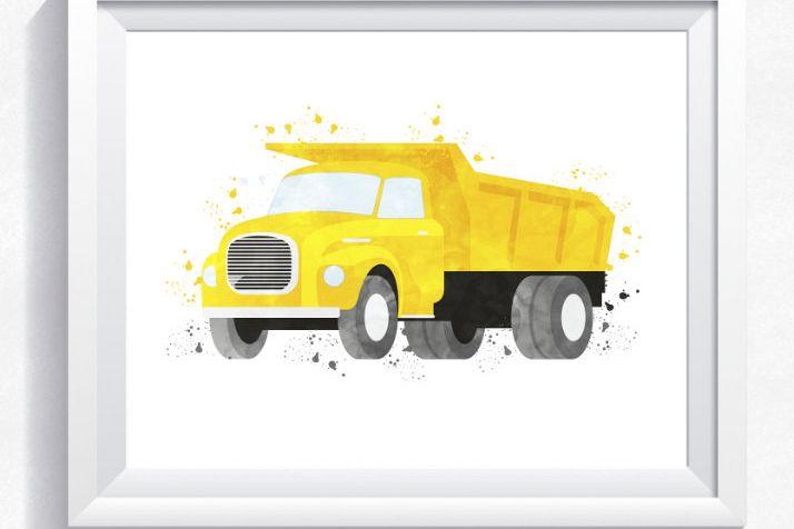 Watercolor dump truck printable, dump t   Design Bundles