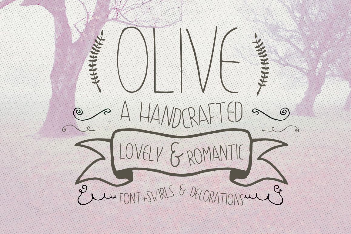 Olive Hand Drawn Font + Decorations example image
