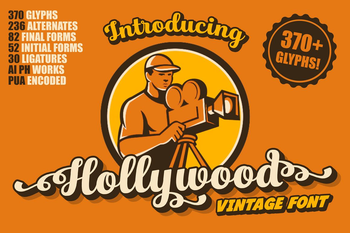 Hollywood • Vintage Font example image