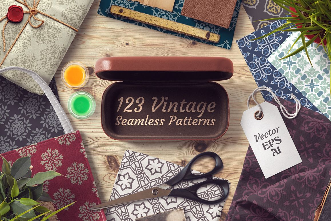 123 Vintage Seamless Vector Patterns example image