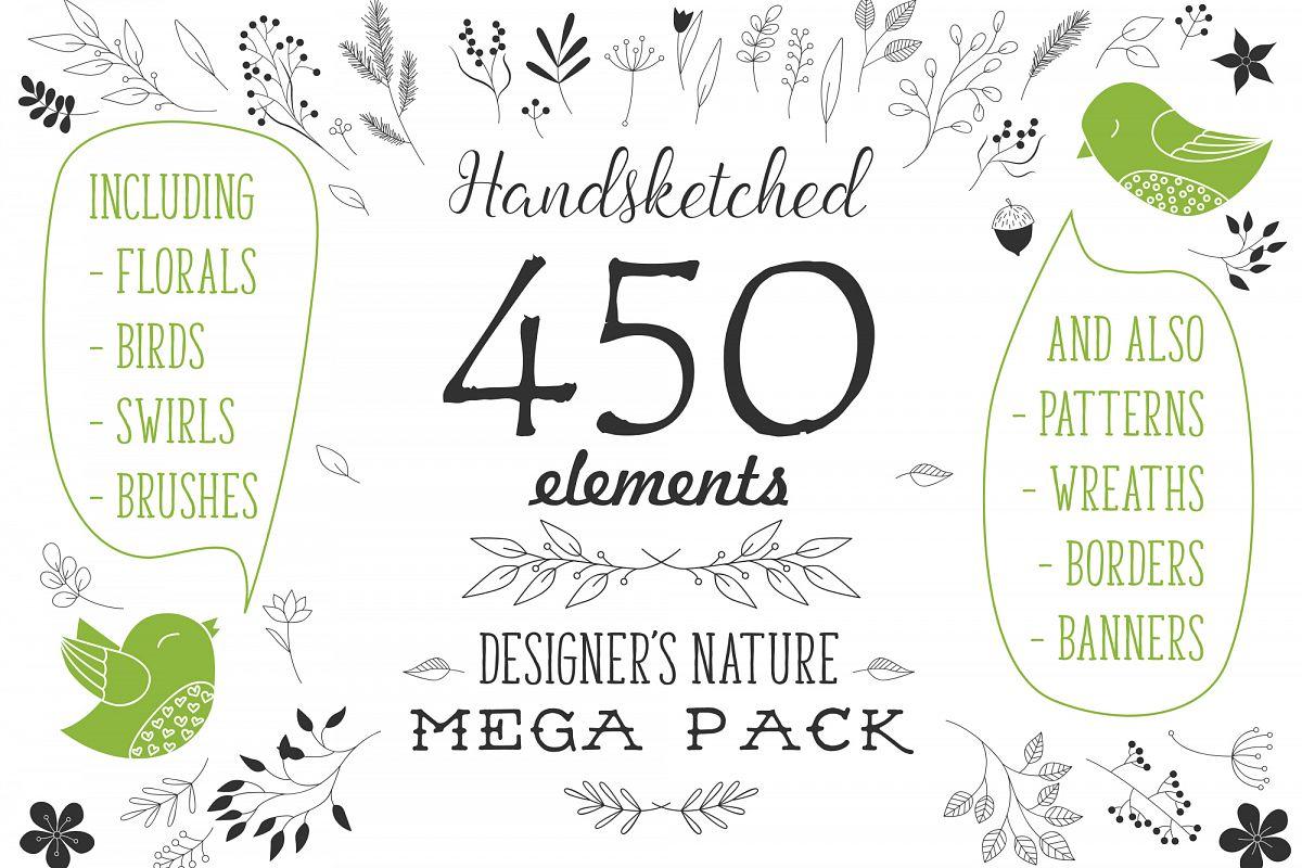 450 handsketched elements. Nature mega pack example image