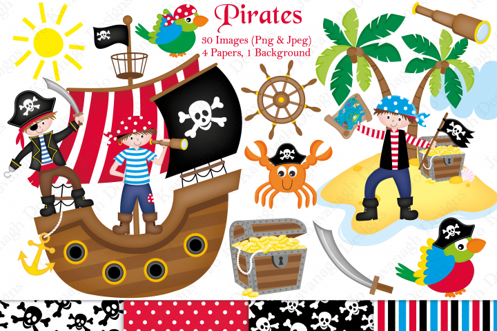 Pirate clipart, Pirate graphics & illustrations, Pirate ship clipart, Pirate ship graphics & illustrations, Pirate digital papers