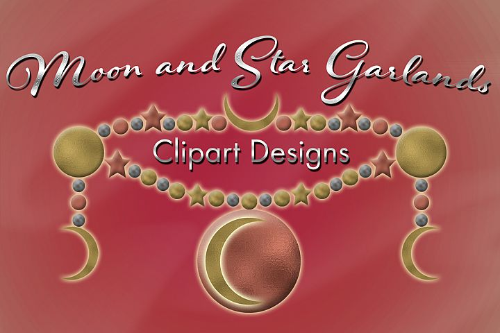 Moon and Star Garlands Clipart Designs
