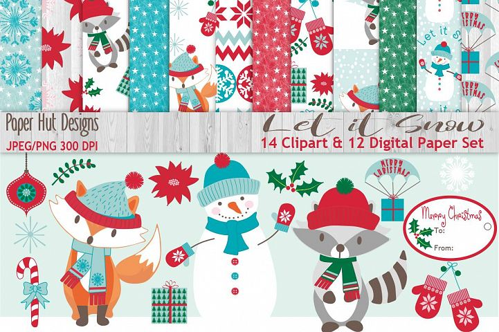 Snowman Christmas Clipart and Digital Papers Set