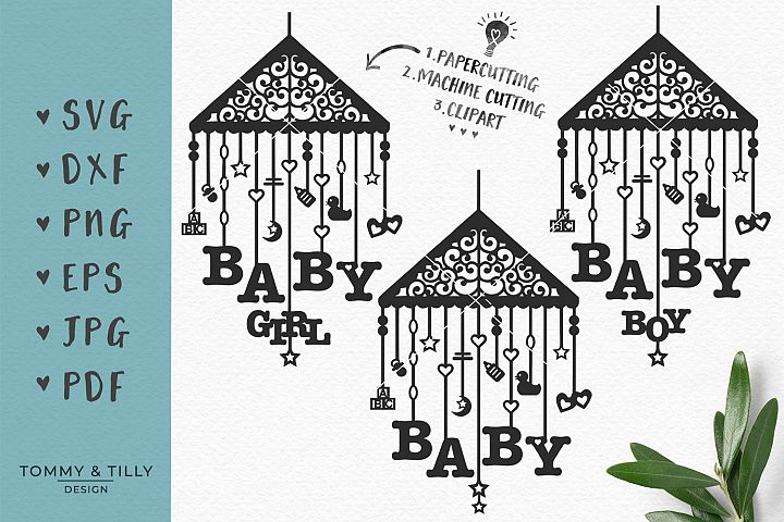 Baby Mobile Bundle - SVG DXF PNG EPS JPG PDF Cutting File example 1