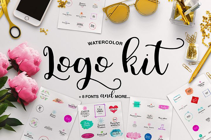 Watercolor Logo Kit + 8 Fonts!