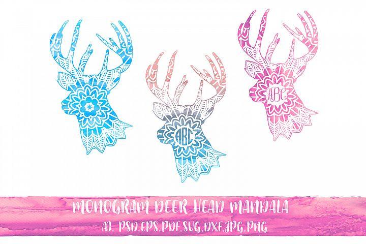 Monogram Deer Head Mandala with watercolor