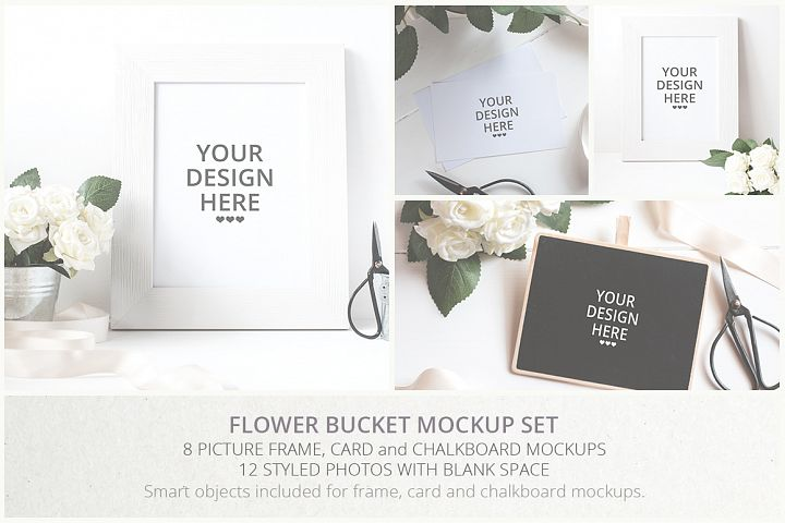 Flower Bucket Mockup Bundle - Free Design of The Week