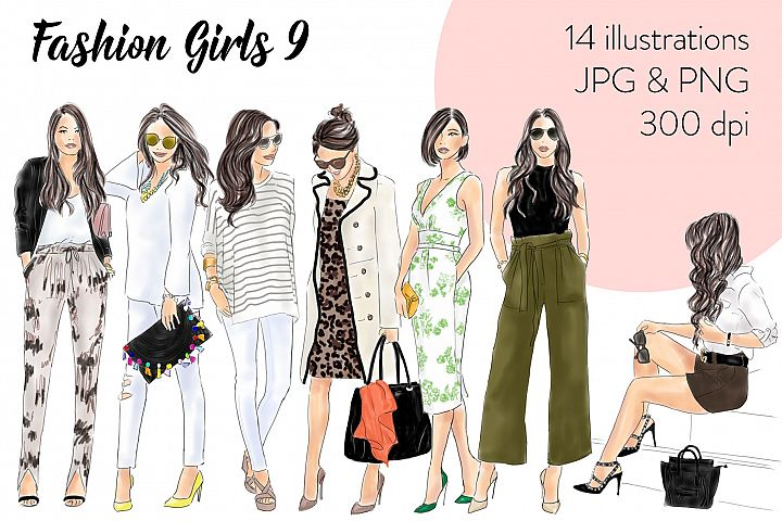 Fashion illustration clipart - Fashion Girls 9