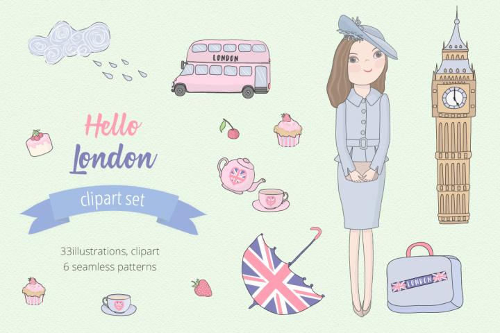 Hello London Illustration Set