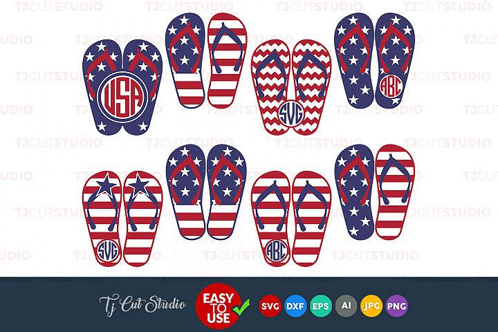 Flip flops svg, 4th of july svg, patriotic svg, Files for Silhouette Cameo or Cricut, Commercial & Personal Use.