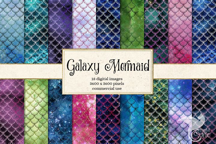 Cosmic Mermaid Scales Digital Paper