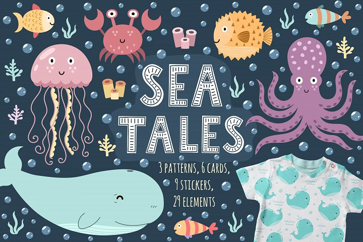 Sea Tales: patterns, stickers, cards