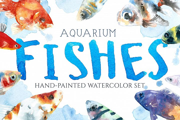 Aquarium Fishes Watercolor Clipart
