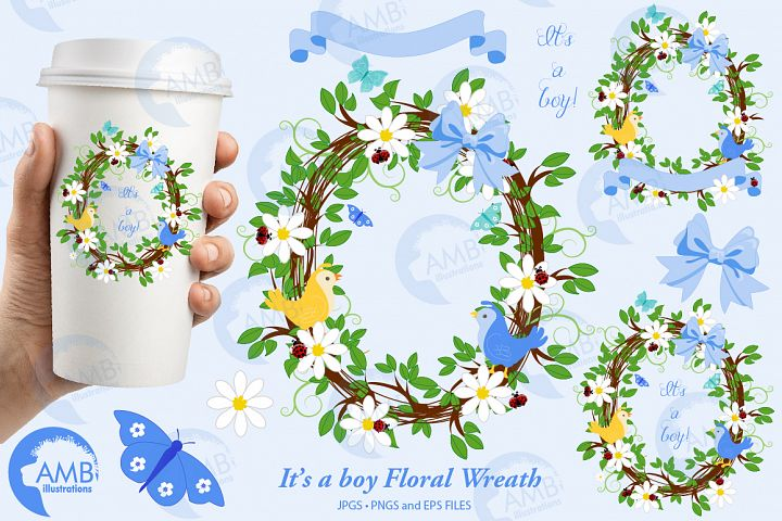 Its a boy Floral Wreath Frames cliparts AMB-1400