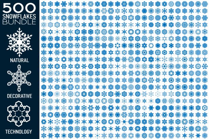 500 Snowflake Vector Shapes Bundle