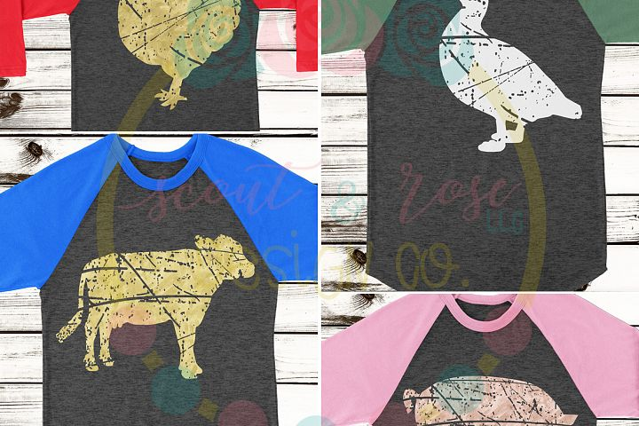 Set of 4 Farm Animal Grunge Distressed Pig Cow Chicken Duck SVG DXF PNG