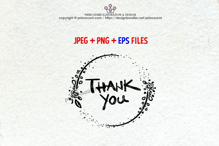 Thank You graphic, with floral clipart, jpg, png and eps file