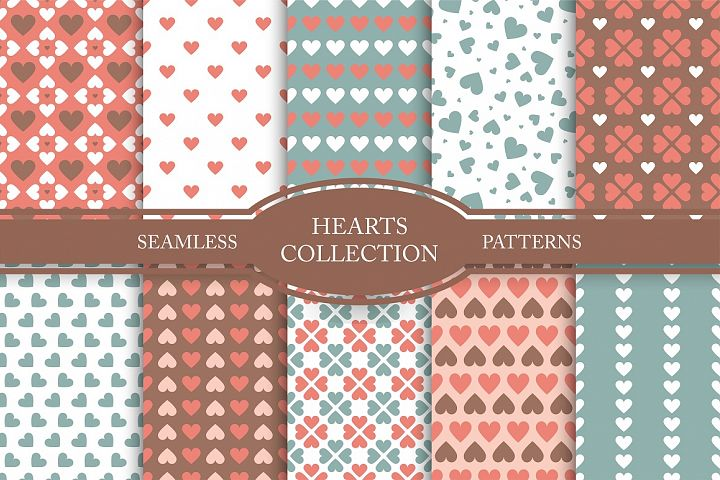 Set of seamless hearts patterns