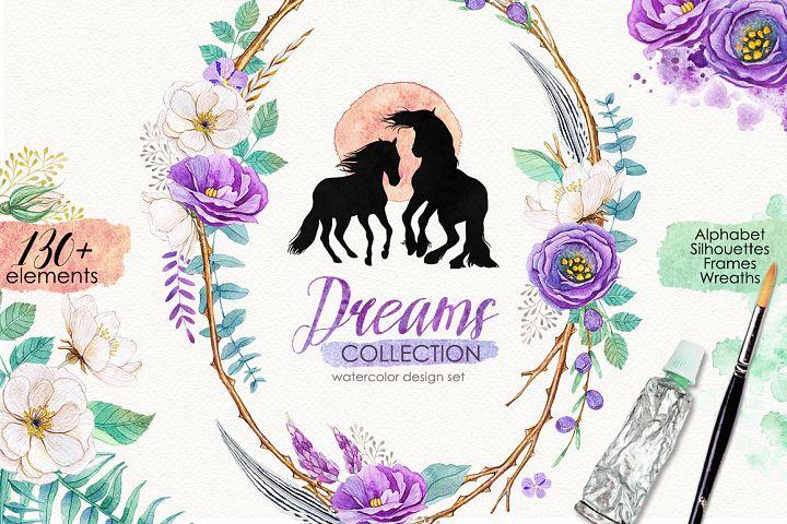 Watercolor design set - DREAMS