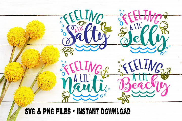 SVG Beach Bundle, 4, Beach Moods svg, Emotions svg, Feeling Nauti svg, Feeling Beachy svg, Feeling Jelly svg, Feeling Salty svg, Cut File