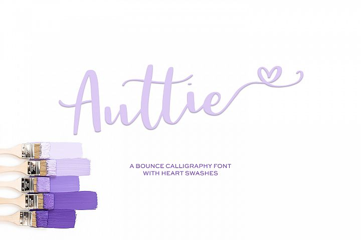 Auttie Calligraphy Font with Heart Swashes