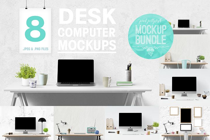 computer mockup & desk mockup bundle - Free Design of The Week
