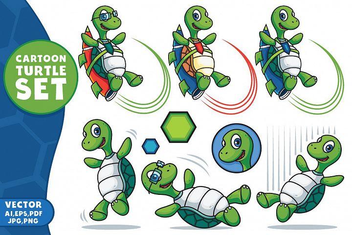 Cartoon Vector Turtle Character Set