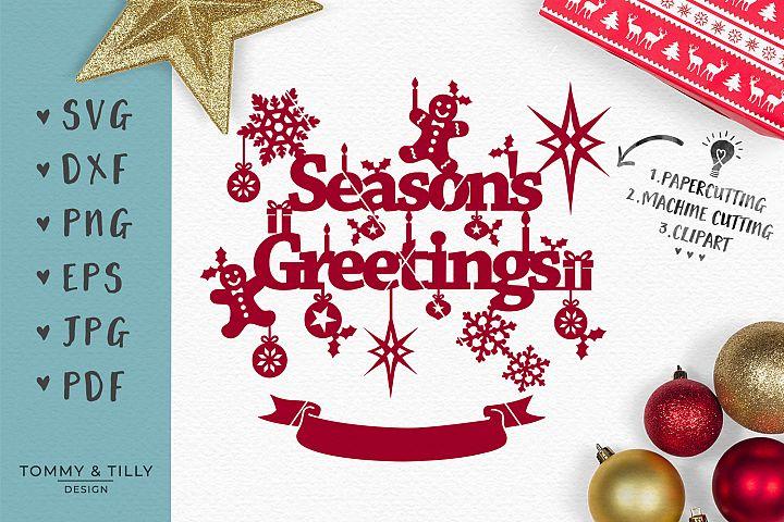 Seasons Greetings - SVG EPS DXF PNG PDF JPG Cut File