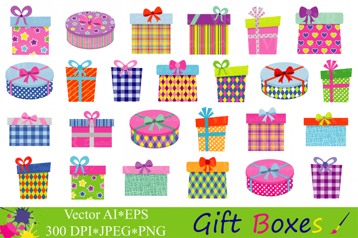 Gift Boxes Clipart / Birthday Party Presents Clip Art / Gifts vector graphics / Present illustrations