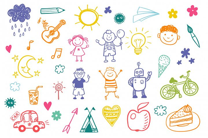 Childrens drawing vector set