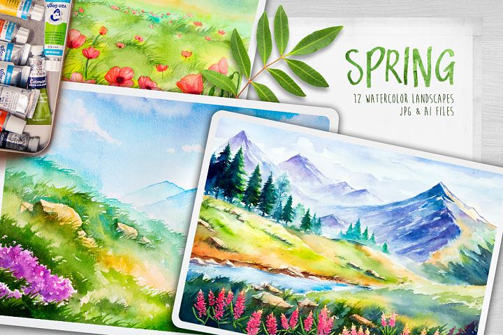 Spring Landscapes. Watercolor.