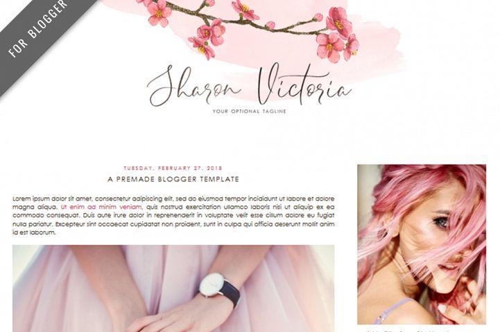 Premade Blogger Template - Mobile Responsive - Watercolor Design Blog - Sharon Victoria Theme
