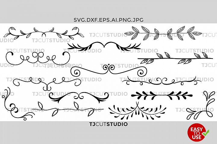 Dividers Svg, Hand drawn Leaves, Leaf Dividers svg, Text dividers SVG file, Files for Silhouette Cameo or Cricut, Commercial & Personal Use.