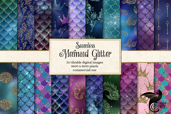Mermaid Glitter Digital Paper