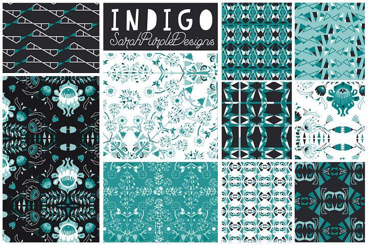 Indigo Seamless Vector Patterns x 10
