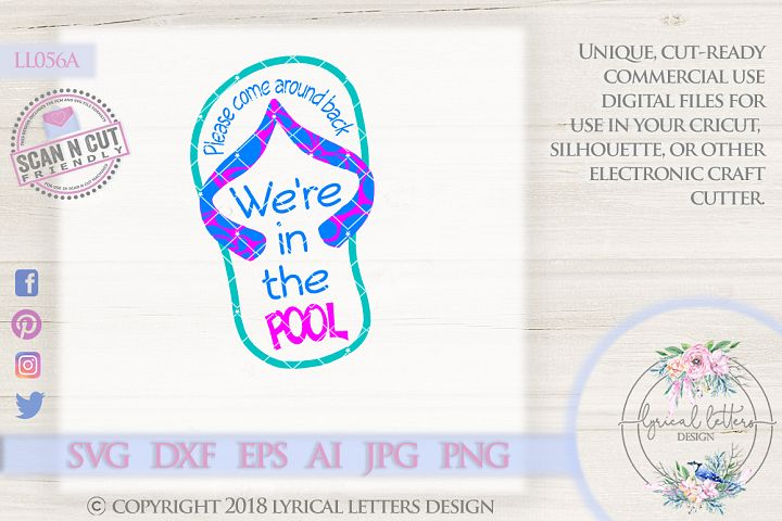 Were At The Pool Flip Flop Cutting File LL056 A  SVG DXF FCM EPS AI JPG PNG