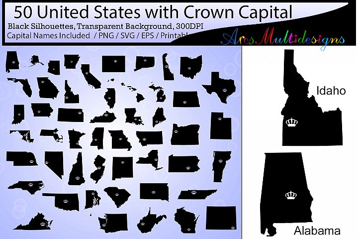 50 united states map with capital crown / states with capital crown map /Us map silhouette / SVG / EPS / PNG / state name / united state map