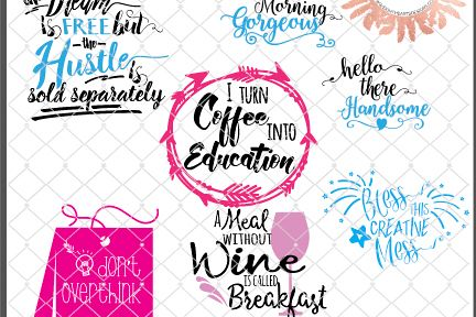Coffee Cup Quotes Collection:  Includes SVG, DXF, EPS and PNG