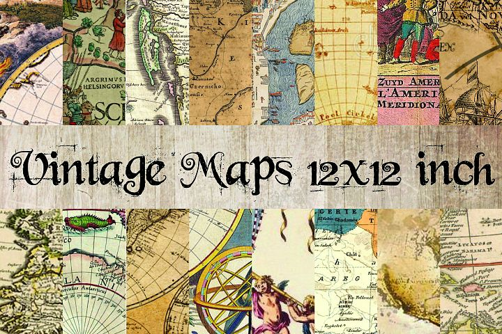 Vintage Maps Digital Paper 12x12 inch