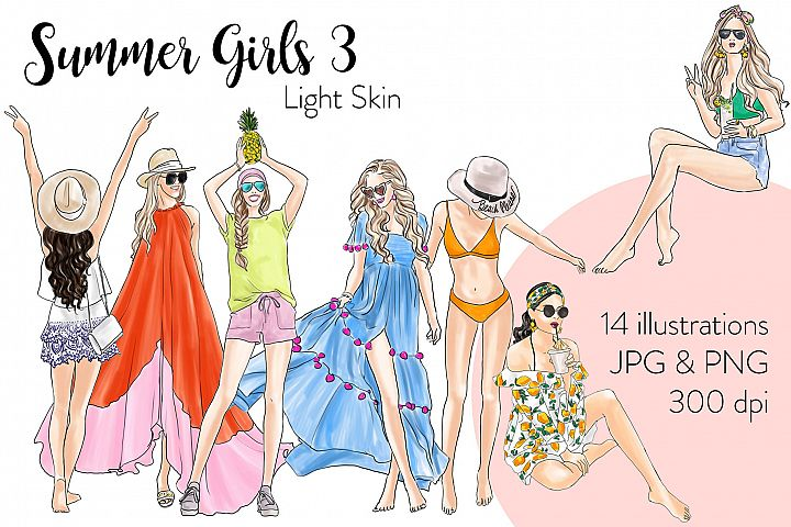 Fashion illustration clipart - Summer Girls 3 - Light Skin