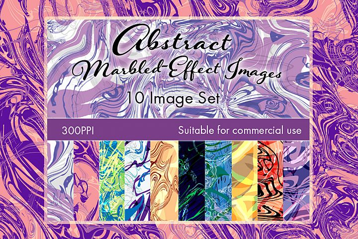 Abstract Marbled-Effect Digital Paper Images