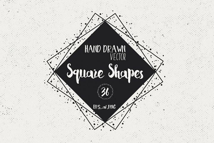 36 Hand Drawn Square Shapes - logo elements