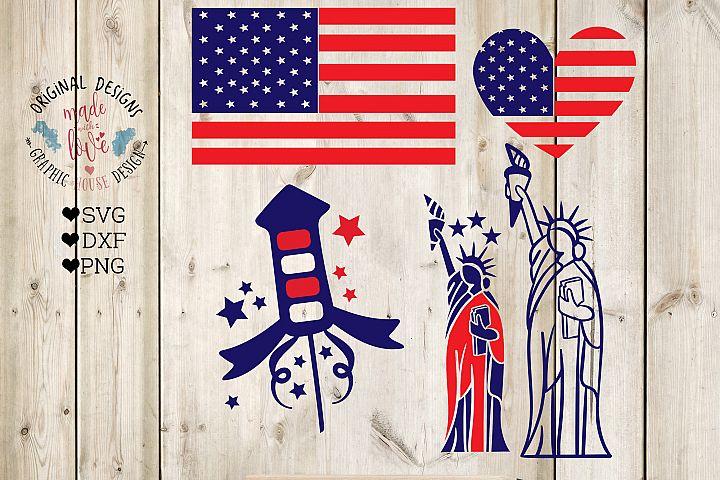 American Flag - Statue of Liberty Mini Bundle SVG, DXF, PNG