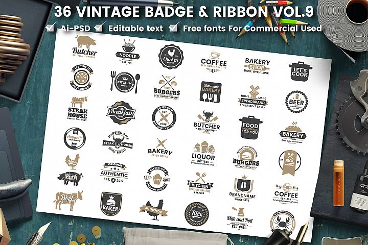 36 VINTAGE BADGE & RIBBON Vol.9