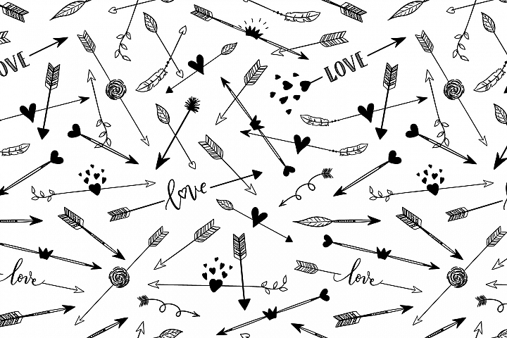Hand drawn arrows seamless pattern